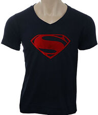 Asia Edge Men's V Neck Printed T-Shirt_Man Of Steel Red Foil