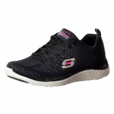 Womens Girls Skechers Valeris Relaxed Fit Air Cooled Memory Foam Trainers Black