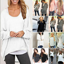 New Women Oversize Casual Pullover Loose Baggy Top Jumper Blouse T-shirt UK 8-24