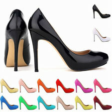 Womens Ladies High Heels Sexy Platform Pumps Court Patent Leather Shoes Size 2-9