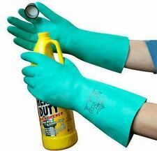 1 or 12 Pairs Polyco Nitri-Tech Green Nitrile Flock Lined Rubber Chemical Gloves