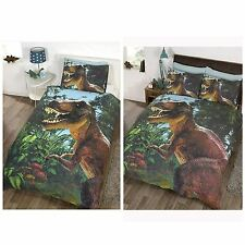 JURASSIC T-REX DINOSAUR DUVET COVER SETS IN SINGLE OR DOUBLE SIZE KIDS BEDROOM