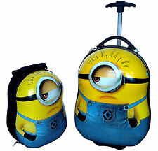 Sale! MINION EGG SHAPED KIDS CHILDRENS LUGGAGE SUITCASE TROLLEY PLUS BACKPACK