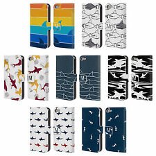 HEAD CASE DESIGNS SHARK PRINTS LEATHER BOOK WALLET CASE FOR APPLE iPOD TOUCH MP3