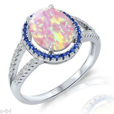 Pink Fire Opal Oval Blue Sapphire Halo Sterling Silver Ring