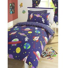 BLAST OFF SPACE MAN SHIP ROCKET DUVET QUILT COVER BEDDING SET OR CURTAINS BLUE
