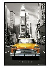 New Gloss Black Framed New York Taxi Number 1 Poster