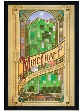 New Black Wooden Framed Minecraft Creeper Statue Poster