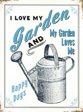 New I Love My Garden Happy Days Metal Tin Sign
