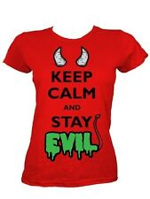 Keep Calm and Stay Evil Ladies Red T-Shirt