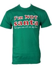 Xmas Novelty Festive Sit On My Knee Mens Green Christmas T-Shirt
