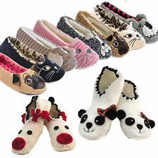 Ladies Novelty Panda,Pug,Cat Reindeer Knitted Ballet Slipper Socks Gripper Soles