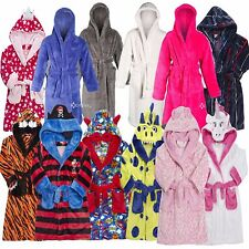 Boys Girls Snuggle Fleece Hooded Dressing Gown Robe Super Soft Children's Kids
