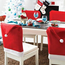 Set of Christmas Santa Hat Dinner Table Chair Covers Red White Father Decoration