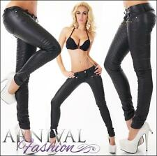 NEW SEXY LADIES BLACK WET LOOK HOTPANTS XXS XS S M L SKINNY FAUX LEATHER PANTS