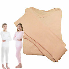Girls Ex Chain Store Pink / White Warm Thermal Long Pants & Long Sleeve Vest Set