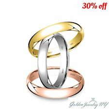 SOLID 10K WHITE YELLOW ROSE GOLD PLAIN COMFORT FIT WEDDING BAND RING MENS WOMEN