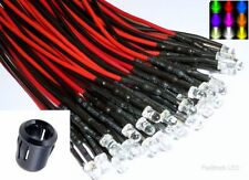 5mm Ultra Bright Pre-Wired Constant/Flashing 12v LEDs Black Prominent Holders