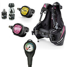 Cressi Kit Donna Mc9 Xs + Octopus Xs +Manometro Cressi + Gav Travelight 01IT