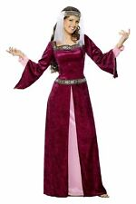 Ladies Deluxe Medieval Maid Marion Robin Hood Maiden Fancy Dress Costume