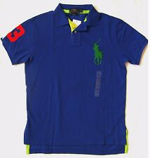 Mens Polo Ralph Lauren Big Pony Polo Shirt Custom Fit Blue Multi SMALL RRP £110