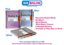 A4 Executive Project Book 200 Pages 80gsm Hardback Spiral Elastic Band Pukka Pad