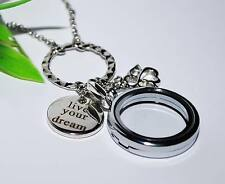 Medaillon Kette +++ FLOATING CHARMS Anhänger Magnetverschluss LIVE YOUR DREAM