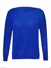 WOMEN'S LADIES PLAIN LONG SLEEVE CELEBRITY FISHNET TOP KNITTED SWEATER JUMPER