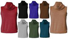 Womens Plus Size Ribbed Cowl Polo Turtle Neck Sleeveless Vest Top Roll Neck 8-26