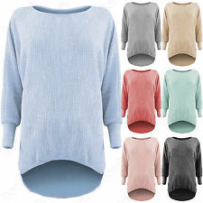 NEW LADIES LOOSE FIT WAFFLE BATWING TOP MARL KNIT WOMENS OVERSIZED HILO HEM LOOK