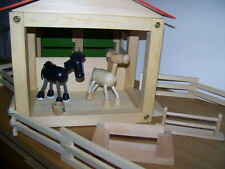 Wooden Toy Horse Stable With 2 Horses & Much More See Images