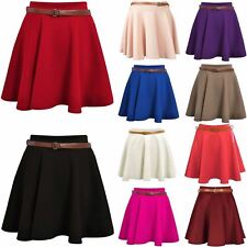 New Womens Ladies Belted Skater Skirt Mini Party Swing Plain Flared Fashion