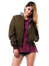 Women's Long Sleeve Olive Military Bomber Hoodie Anorak Jacket Coat Outwear