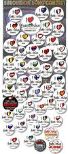EUROVISION SONG CONTEST PARTY BADGES/ EUROVISION SWEEPSTAKE~ 25 MM/ 1 ""