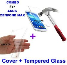 ~ COMBO OFFER ~ 2.5D TEMPERD GLASS + TRANSPARNT BACK COVER For ZENFONE MAX