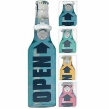 RETRO WALL HANGING WOODEN BEER BOTTLE SHAPED KITCHEN LID OPENER METAL CLAW TOOL