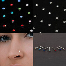 0.8mm Surgical Steel Men Silver Nose Studs Women Clear or Colour (12 & 24 Packs)