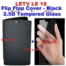 ~COMBO ~ FOR LETV LE 1S Flip Cover + 2.5D Tempered Glass - Black @ Rs 245/- Only