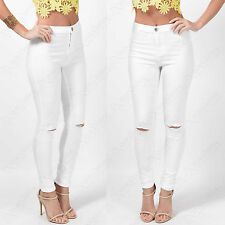 NEW LADIES RIPPED KNEE WHITE SKINNY JEANS WOMENS HIGH WAISTED CUT JEGGINGS LOOK