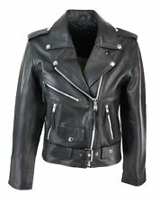 BRANDO Ladies Women Black Classic Biker Motorcycle Motorbike Hide Leather Jacket