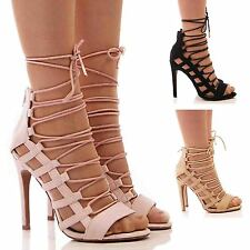 LADIES WOMENS HIGH HEELS SHOES SANDALS LACE UP TIE UP SANDALS FASHION SIZE