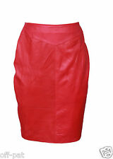Sexy Butter Soft Womans RED LAMBS LEATHER PENCIL SKIRT  All Sizes
