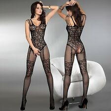 LivCo Temperance Sexy Netz Body Stocking Catsuit S/L IM SCHRITT OFFEN Nylon HOT