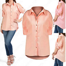 LADIES CUT OUT COLD SHOULDER TOP CREPE BLOUSE WOMENS HILO LOOSE COLLARED SHIRT