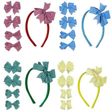 2 Green Red Blue Yellow Gingham Check School Hair Bow Clips Back To School Dress