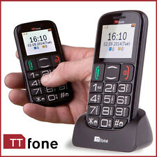 Black TTfone Mobile Mercury 2 TT200 Big Button Senior Basic Simple Loud Volumed