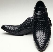 Classic Mens Leather Shoes Fashion Style Weave Pattern Lace Up Dress Shoes Size