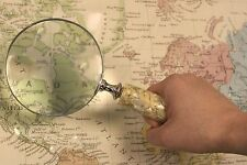 Vintage Antique Style Large Magnifying Glass Mother of Pearl Bone Seahorse Rope