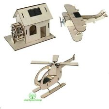 Solar Powered Easy Build Plywood Model Kits Helicopter Watermill Windmill, Plane