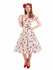 Collectif DOLORES DOLL Kirschen CHERRY Vintage Pin Up SWING Kleid Rockabilly